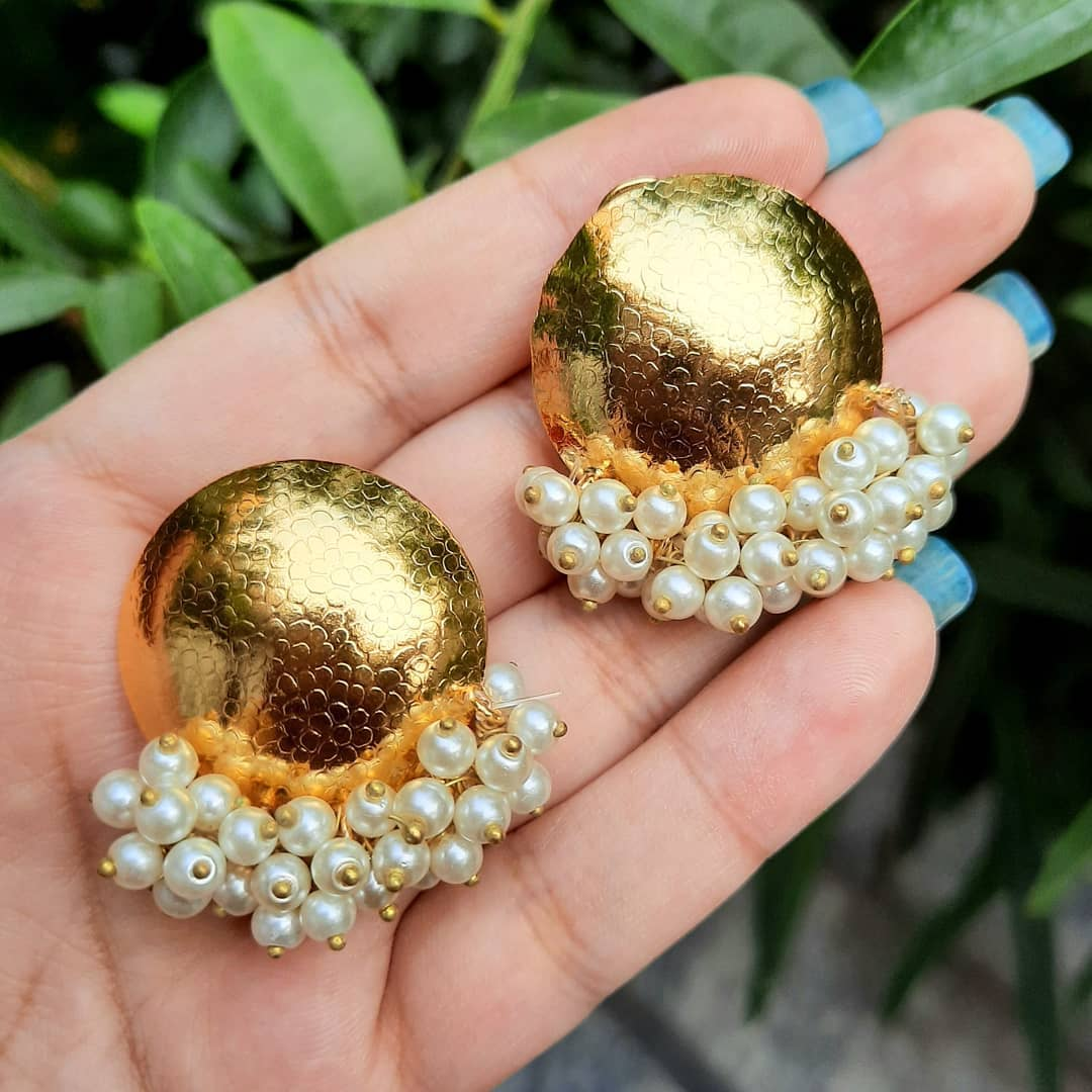 Pearl Gold Plated Ear Studs