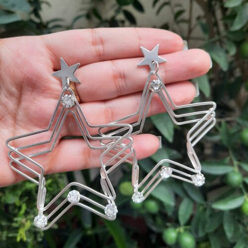 Star-shaped Silver Ear Rings